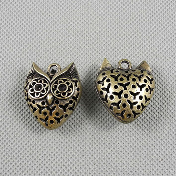 1x Making Jewellery Supply Pendant Retro Bronze Jewelry Findings Charms Schmuckteile Charme 4-A2086 Hollow Owl