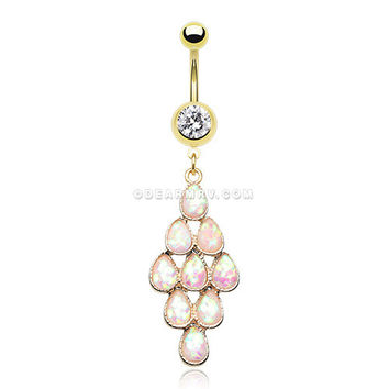 Golden Iridescent Bubble Chandelier Belly Button Ring (White)