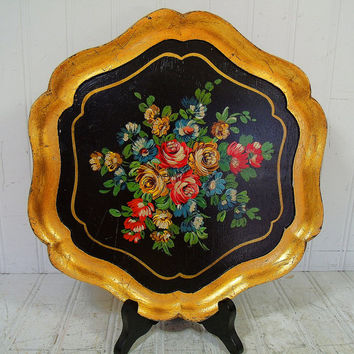 Vintage Toleware Floral Bouquet Hand Painted Over Black Enamel Wood Tray - Retro Gold Leaf Trim Plate Decor - Art Deco Cocktail Petite Tray