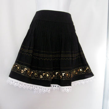 Full Black Skirt with Gold trim size Small