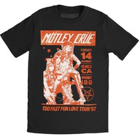 Motley Crue Men's  Vintage Whisky A Go Go Slim Fit T-shirt Black