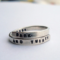 Grey's Anatomy handstamped Silver quote Ring 'Dark and Twisty', 'My Person' Sterling Silver 925 -Adjustable