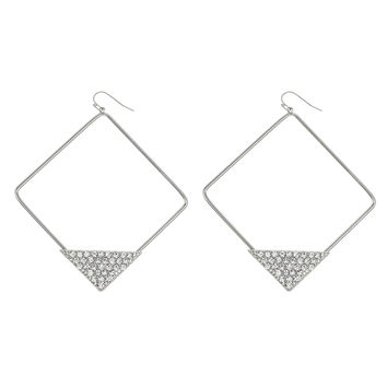 Silvertone with Stone Pyramid 3 Inch Square Hoop Earrings