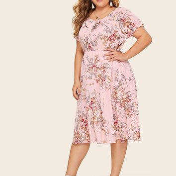 Plus Floral Print Bow Front Puff Sleeve Dress