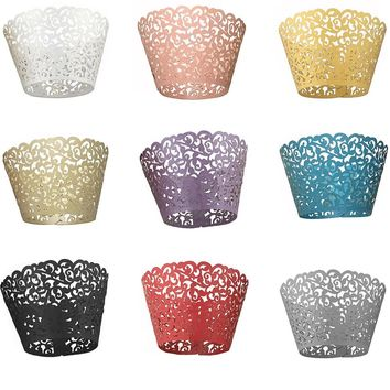 Practical 120PCS Paper Hollow Lace Floral Cupcake Muffin Wrapper Wrap Case Cake Hollow Paper Cake Cup Safety