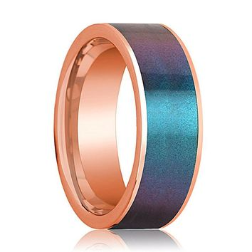 Mens Wedding Band 14K Rose Gold with Blue/Purple Color Changing Inlaid Flat Polished Design