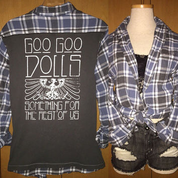 Vintage Goo Goo Dolls tee and plaid flannel combo shirt ladies medium/large