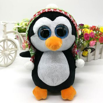 TY BEANIE BOOS collection 1PC 25CM penelope Penguin With Knit Hat BIG EYES Plush Toys Stuffed animals soft toys buddly toys