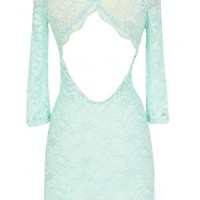 Open Back Fitted Lace Dress With Three Quarter Sleeves in Mint - WHAT'S NEW