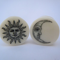 Sun & Moon Plugs on White Bone. 2g 6mm or 4g 5mm by TheGaugeQueen