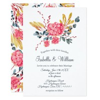Floral Pink Hydrangeas Bouquet Wedding Invitation