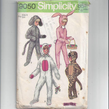 Simplicity 9050 Pattern for Kids Halloween Costume for Rabbit, Lamb, Cat or Tiger, and Dog, Size 6, From 1970, Simple to Sew