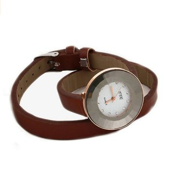 Women's Vintage Retro Brown Leather Strap Bracelet Quartz Watch