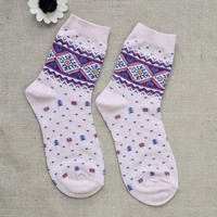 FunShop Woman's Hearts and Trees Pattern Cotton Ankel Socks Pack of Two (one Grey and one Pink) F1104