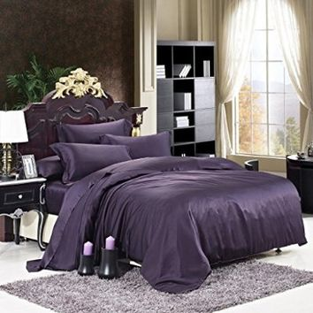 Luxuer Silk 7-Pieces Solid Silk Bedding Collection Duvet Cover & Sheets Set Machine Washable Handmade Pure Mulberry Silk Extra Durable Full Size, Purple