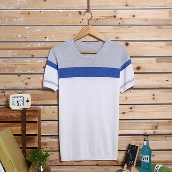 Summer Slim Men's Fashion Knit Cotton Mosaic Stylish Casual Round-neck Short Sleeve Tops [6544072643]