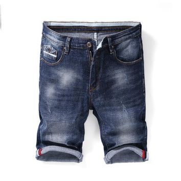 Denim Summer Men Korean Pants Stretch Slim Shorts [1589006467165]