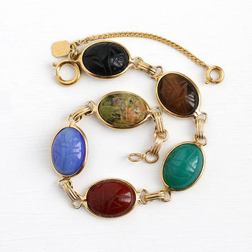Vintage Scarab Bracelet - 12k Rosy Yellow Gold Filled Beetle Bug Chalcedony Gems - Retro 1950s Carved Egyptian Revival Karen Lynne Jewelry