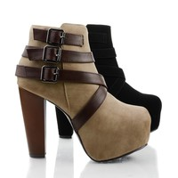 Belter Taupe Brown By Speed Limit 98, Women Ankle Booties on Chunky Block Heel & Criss Cross Straps
