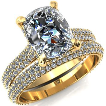 Lori Antique Cushion Elongated Old Mine Cut (OMC) Moissanite 4 Prong Micro-Pavé Diamond Accent Ring
