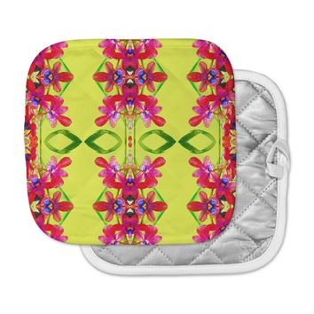 "Dawid Roc ""Tropical Floral Orchids 1 "" Yellow Red Pot Holder"