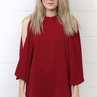 Solid Mock Neck Open Shoulder Blouse {Burgundy}