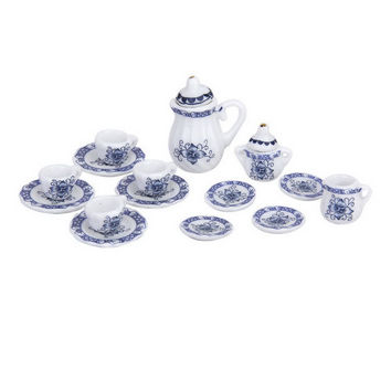 15pcs British Style 1 12 Dollhouse Miniature Dining Dinnerware Porcelain Tea Set Tea Cup Plate Blue Hot Sale