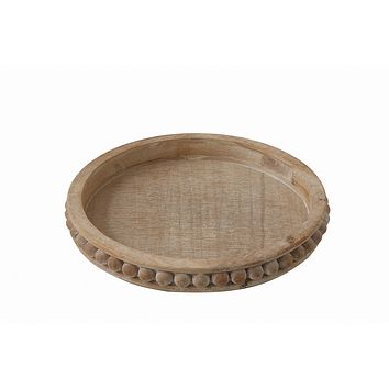Whitewashed Round Decorative Wood Tray by Creative Co-Op