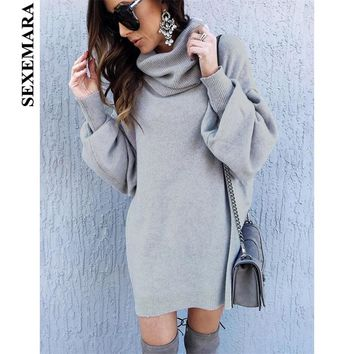 SEXEMARA Turtleneck Lantern Long Sleeve Gray Sweater Dress Oversized 2018 Fall Winter Woman Sweaters Knitting Pullovers C81-BZ69