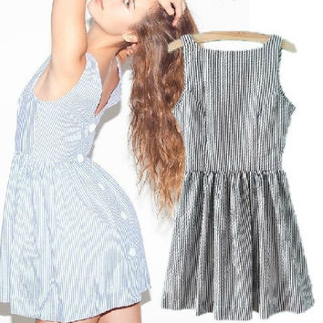 Summer V-neck Backless Stripes Vest Dress Skirt One Piece Dress [5013284868]