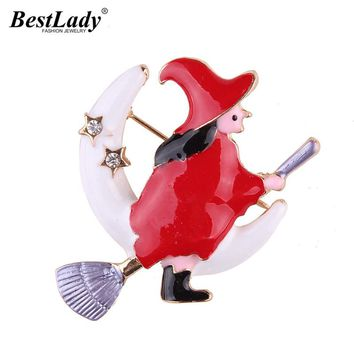 Best lady Fashion Scarf Shoulder Witch  Moon Brooches Pins Clip Special Design Nice Gifts For Women Buckle Pins Brooches 5420