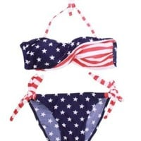 National US Stars Stripes Flag Strapless Bathing Bikini Suit