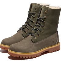 Timberland Rhubarb Boots Keep Warm Green For Women Men Shoes Waterproof Martin Boots