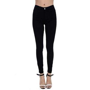 Judy Blue - Black Denim Mid Rise Skinny Jeans