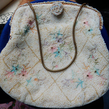 Beaded Evening Bag Purse Ed B Robinson French Made in France Petit Point
