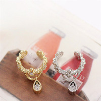 For Women Punk Ear Cuff Wrap Earring No Piercing  New Fashion Vintage Jewelry Rhinestone Water Drop Ear Cuff Clip Earrings