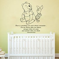 Quote Wall Decal Vinyl Sticker Decals Quotes Winnie the Pooh Quote - Braver Stronger Smarter - Nursery Decor Kids Baby Room Bedroom ZX208