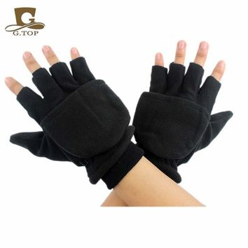New Unisex Winter Women Men Polar Fleece Fingerless Convertible Mittens Warm Gloves