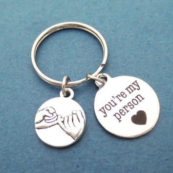 You are my person, Pinky promise, Pinky, Promise, Gray's anatomy, Friendship, Best friend, Keychain, Keyring, Gift, Jewelry, Accessory