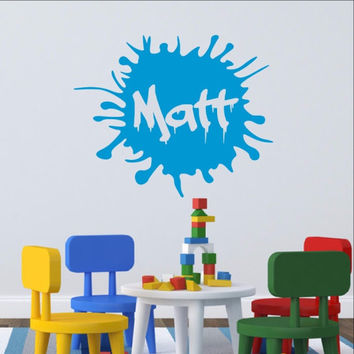 Personalized Paint Splatter Ink Spot Decal  Name Vinyl Wall Decal 22404