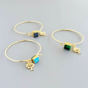 Good Luck Druzy Bangles - 3 Colors