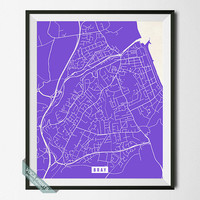 Bray Street Map, Ireland Poster, Bray Poster, Ireland Print, County Wicklow, Home Decor, Street Map, Wall Art, Back To School