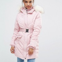 Miss Selfridge Petite Padded Belted Waist Jacket at asos.com