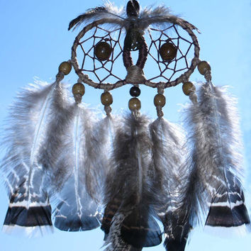 Owl Dream Catcher, home decor, fashion accessory, unique design, handmade, gray owl with feathers and wooden beads