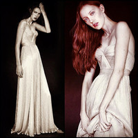Golden Beauty Hand Gathered Bustier Gown with Cap Sleeves