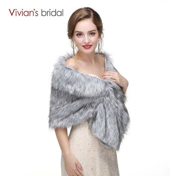 New Arrival Grey Winter Bridal Jacket Warm  Luxurious Wedding Bride Wraps Cape Wedding Jacket
