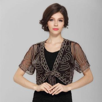 Lace Hook Flower Vintage Sheer Bolero Lace Up Shawl Coat Summer Women Short Sleeve Embroidery Thin Mesh Shrug