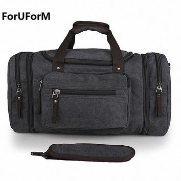 Vintage Canvas Men Travel Bags Women Weekend Carry on Luggage Bags Leisure Duffle Bag Large Capacity Tote Business Bolso LI-1625