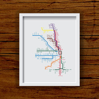 "Chicago Art Print - Chicago ""L"" Transit Art With Hearts - 8x10 City Art"