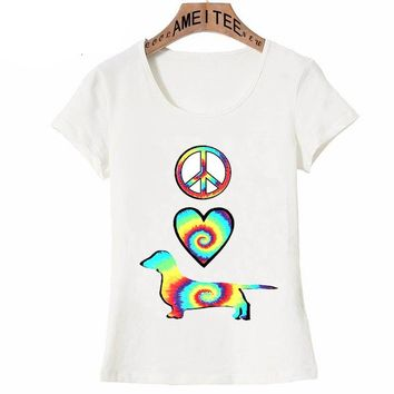 New Summer Fashion Women T Shirt Rainbow Peace Love Dachshunds Tattoo Print T-Shirt Dog Lovers Cool Casual Tops Girl Punk Tees